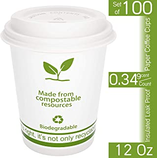 FEEDMI Paper Coffee Cups with Lids - 100% Compostable Eco-friendly 12 oz PLA Lined Hot Cups & Lids - Set of 100