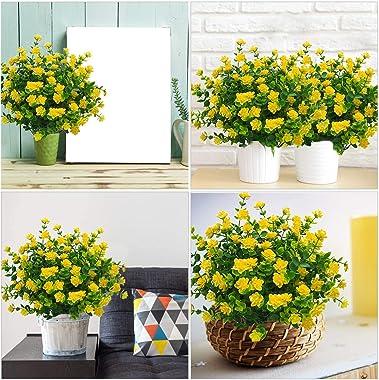 Dreamfun 20 Bundles Outdoor Artificial Flowers Plants Decoration - UV Resistant Plastic Flowers for Outside Faux Plants Fake