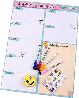 aeioubaby.com Magnetyczny planer tygodniowy, 4 markery do tablic, 12 magnesów, 1 guma | kalendarz na lodówkę francuski 43 ...