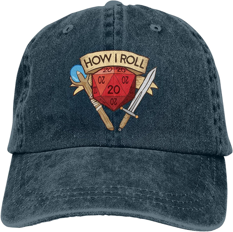 How I Roll Dungeons Dragons D&D Baseball Cap Unisex Adjustable Washable Cotton Hat Trucker Cap Dad Hat