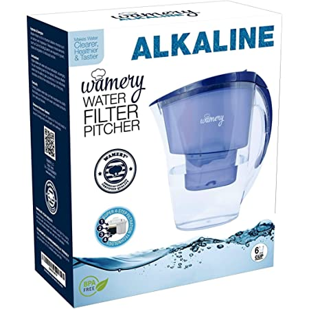 WAMERY Alkaline Water Pitcher 1.5 Liters, Slim Model, Free Filter Included, Improves pH, Removes Lead, Chlorine, Copper and More. Natural Solution for Acid Reflux and Dehydration