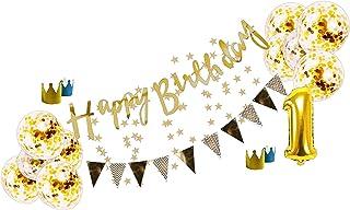 〜 創る特別 〜 【 SelfMake 】 お誕生日 バースデーセット 豪華内容(クラウン2色付き・バルーン10こ・HappyBirthday & スターガーランド。選択オプションバルーン) (ベースセット)