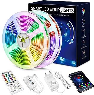 Led Strip 20m, 5050 RGB Led Streifen Selbstklebend mit Fernbedienung und APP 16 Mio. Farben, Led Kette Farbwechsel Led Lic...