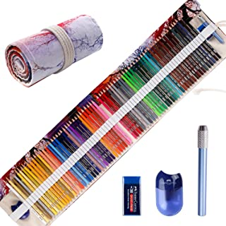 Premier Colored Pencils for Adult Coloring Book, Premium Artist Colored Pencil Set (72-Count), Handmade Canvas Pencil Wrap, Extra Accessories Included, Holiday Gift, Oil based Colored Pencil