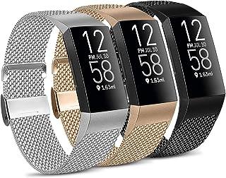 IEOVIEE Metal Loop Bands Compatible with Fitbit Charge 4 / Fitbit Charge 3 / Charge 3 SE Band, Adjustable Stainless Steel ...