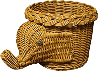 CVHOMEDECO. Éléphant Design Imitation Rotin Corbeille De Fruits Corbeille À Pain Panier De Rangement Résine Osier Plante A...