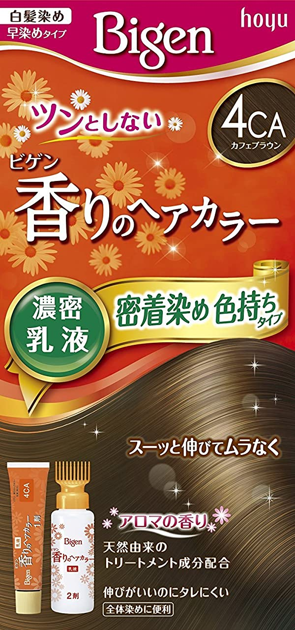 移植お誕生日叱るホーユー ビゲン香りのヘアカラー乳液4CA (カフェブラウン) 40g+60mL ×6個