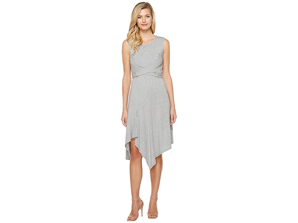 Mod-o-doc Cotton Modal Spandex Jersey Faux Wrap Tie Back Dress (Smoke Heather) Women