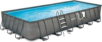 Summer Waves Elite Rectangular Metal Frame Pool Package