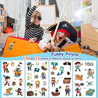 Pirate Temporary Tattoos for Kids - 15 Sheets   Girls Boys Birthday Party Supplies, Pirate Tattoo Stickers Party Favors(15...