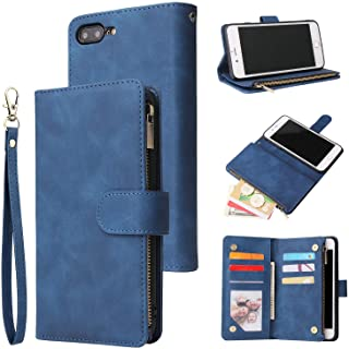 UEEBAI Wallet Case for iPhone 6 6S, Premium Vintage PU Leather Magnetic Closure Handbag Zipper Pocket Case Kickstand Card ...