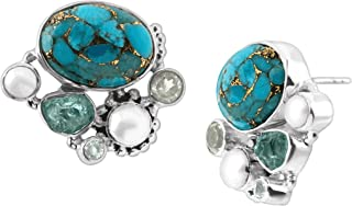 Globetrotter' Stud Earrings with Compressed Turquoise, Apatite, Swiss Blue Topaz & Fw Cultured Pearls in Sterling Silver