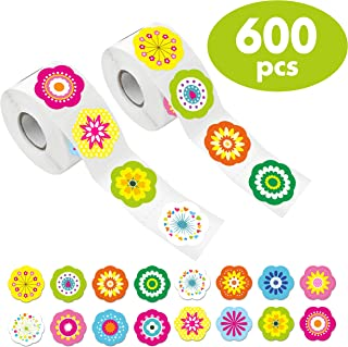 600 PCS Adorable Flower Stickers in 16 Designs with Perforated Line Expanded Version (Each Measures 1.5
