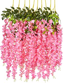 DearHouse 6 Pack 3.75 Feet/Piece Artificial Fake Wisteria Vine Ratta Hanging Garland Silk Flowers String Home Party Wedding Decor,Pink