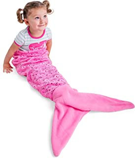 Vital Tiger Mermaid Tail Blanket for Girls/Kids/Toddlers, Super Comfy Pink Fleece Snuggle Blanket
