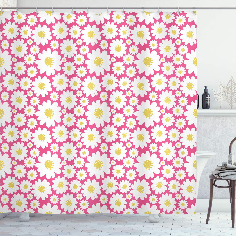 Ambesonne 税込 Floral Shower Curtain セール価格 Pastel Flowers Like Dai Cartoon
