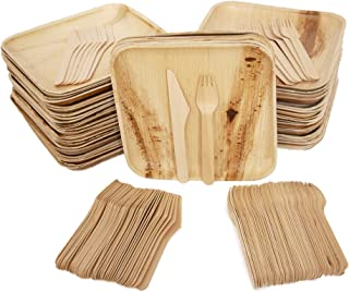 Eco Only party pack of 150 Eco-friendly Disposable Dinnerware | Palm Leaf Plates Set of 50 Disposable 8