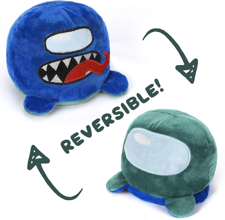 Among Us Plush Reversible Plushie Octopus Stuffed Animal Mood Green/Blue