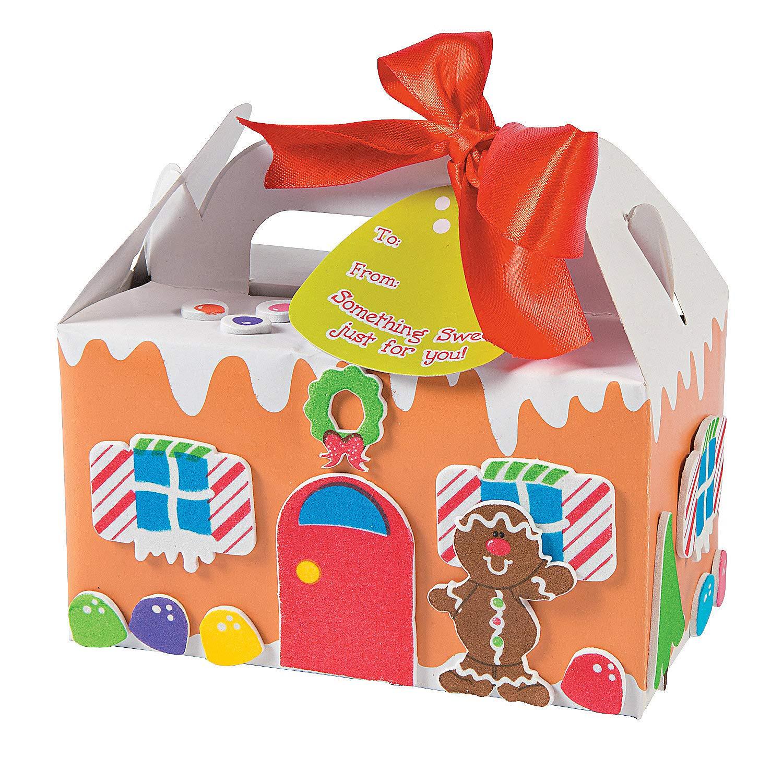Amazon Com Fun Express Gingerbread Treat Box Kids Craft Kit Makes 12 Christmas Party Supplies Toys Games