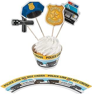 Fun Express - Police Party Cupcake Collars W/picks for Birthday - Party Supplies - Serveware & Barware - Misc Serveware & Barware - Birthday - 100 Pieces