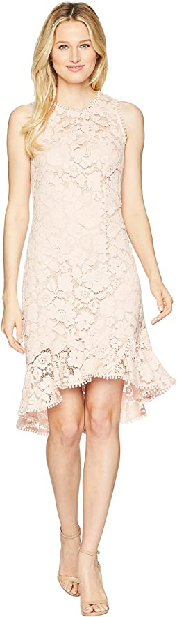 Lace Sleeveless Bodycon Dress with Ruffle Flounce Hem