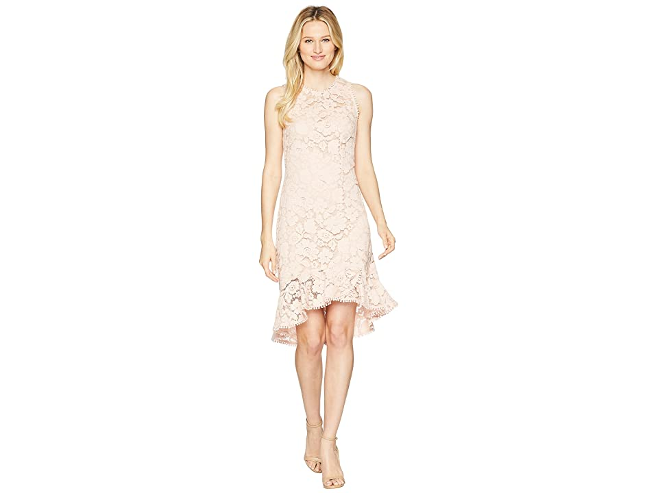 Vince Camuto Lace Sleeveless Bodycon Dress with Ruffle Flounce Hem (Blush) Women