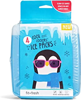 Fit & Fresh Cool Coolers Slim Ice Packs for Coolers/Lunch Bags/Lunch Boxes/Office/Jobsite/Camping/Beach/Picnics/Golfing, for All Ages, Set of 4, Blue