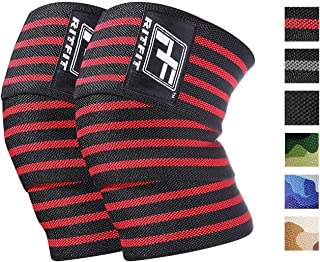 RitFit Knee Wraps (Pair) - Ideal for Squats, Powerlifting, Weightlifting, Cross Training WODs - Compression & Elastic Support - for Men & Women - Bonus Carry Case
