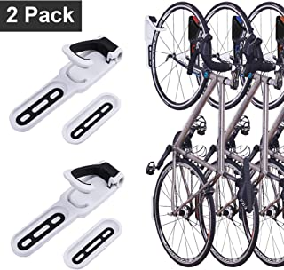 2 Pack Foldable Vertical Bike Rack Wall Mounted Bicycle Cycle Storage Rack Single Bike Hook Wall Bike Hanger Holder w/Tire Tray for Garage Shed Retail Applications Road Bike