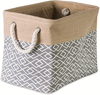 DII Collapsible Burlap Storage Basket or Bin with Durable Cotton Handles, Home Organizational Solution for Office, Bedroo...