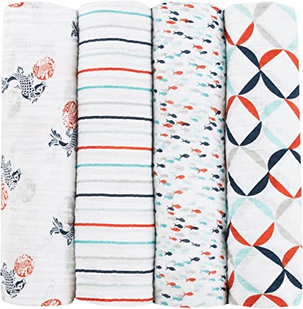 aden + anais Tea Collection Swaddle Baby Blanket,  100% Cotton Muslin,  Large 47 X 47 inch,  4 Pack Fish Pond