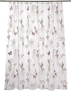 Adwaita Plastic Shower Curtain Printed Purple Flower, 72x72 Rust Proof Grommets with 12 C Hooks