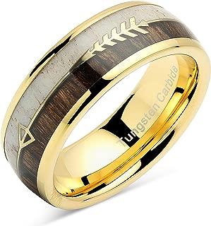 100S JEWELRY Tungsten Ring for Men Women Wedding Band Deer Antler Koa Wood Inlaid Engagement Size 8-16
