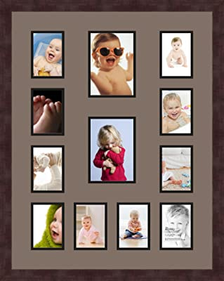 Art to Frames Double-Multimat-463-817//89-FRBW26061 Collage Frame Photo Mat Double Mat with 12-4x6 Openings and Espresso Frame