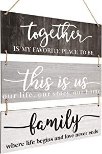 This is Us Family Sign Wall Decor Together Rustic Wood Hanging Home Sign Wood Inspirational Plaque Entryway Signs for Living Room Bedroom Office Outdoor Indoor (Cool Colors)