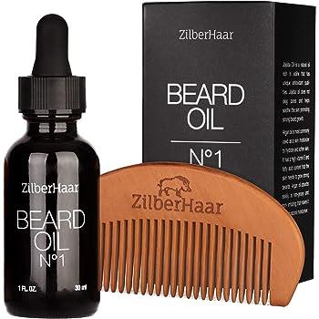 ZilberHaar Beard Oil №1 - Pure, Organic Moroccan Argan and Jojoba Oil for Natural Beard Growth and Hydration - 1 oz - Free Beard Comb Gift