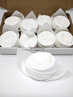 Pétales de rose prêts pliés Ø 6 cm. Fait d'une serviette en tissu, ouvert 40x40 cm. 8 pcs. Comme cadeau de anniversaires o...