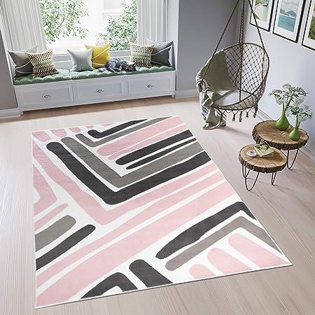 tapiso pimky tapis de salon chambre ado design moderne rose blanc gris noir geometrique rayures doux fin 120 x 170 cm