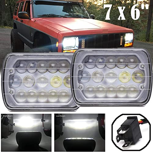 lowest LED Sealed Beam Lights 7X6 Inch High sale Low Beam Headlights Super wholesale Bright Rectangular Headlamps 12V Pack of 2 with 2 Year Warranty outlet sale