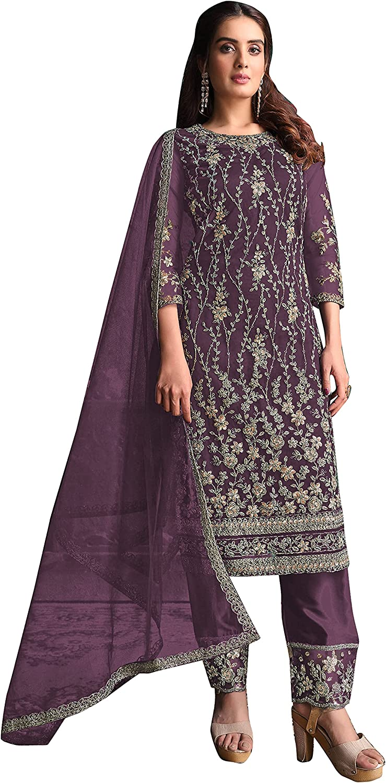 14 Feb Fashion Store Ready to Wear Designer Indian/Pakistani Party/Wedding Soft Net Straight Cut Palazzo Style Suit
