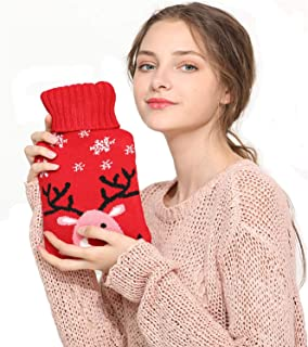 Hot Water Bottles with Knit Covers Hot Water Bag for Pain Relief Hot Pack for Period Cramps Warm Compress Hot Water Bladde...