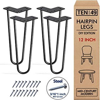 """TEN49 Heavy Duty 12"""" Hairpin Legs - Set of 4 Satin Black - Industrial Strength - Home DIY Projects - Mid-Century Modern Steel Leg for Furniture (Beds & Cabinets, Sofa, Coffee Tables, TV Stands)"""