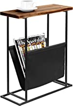 MyGift 21-Inch Modern Wood & Metal End Table with Magazine Holder Sling