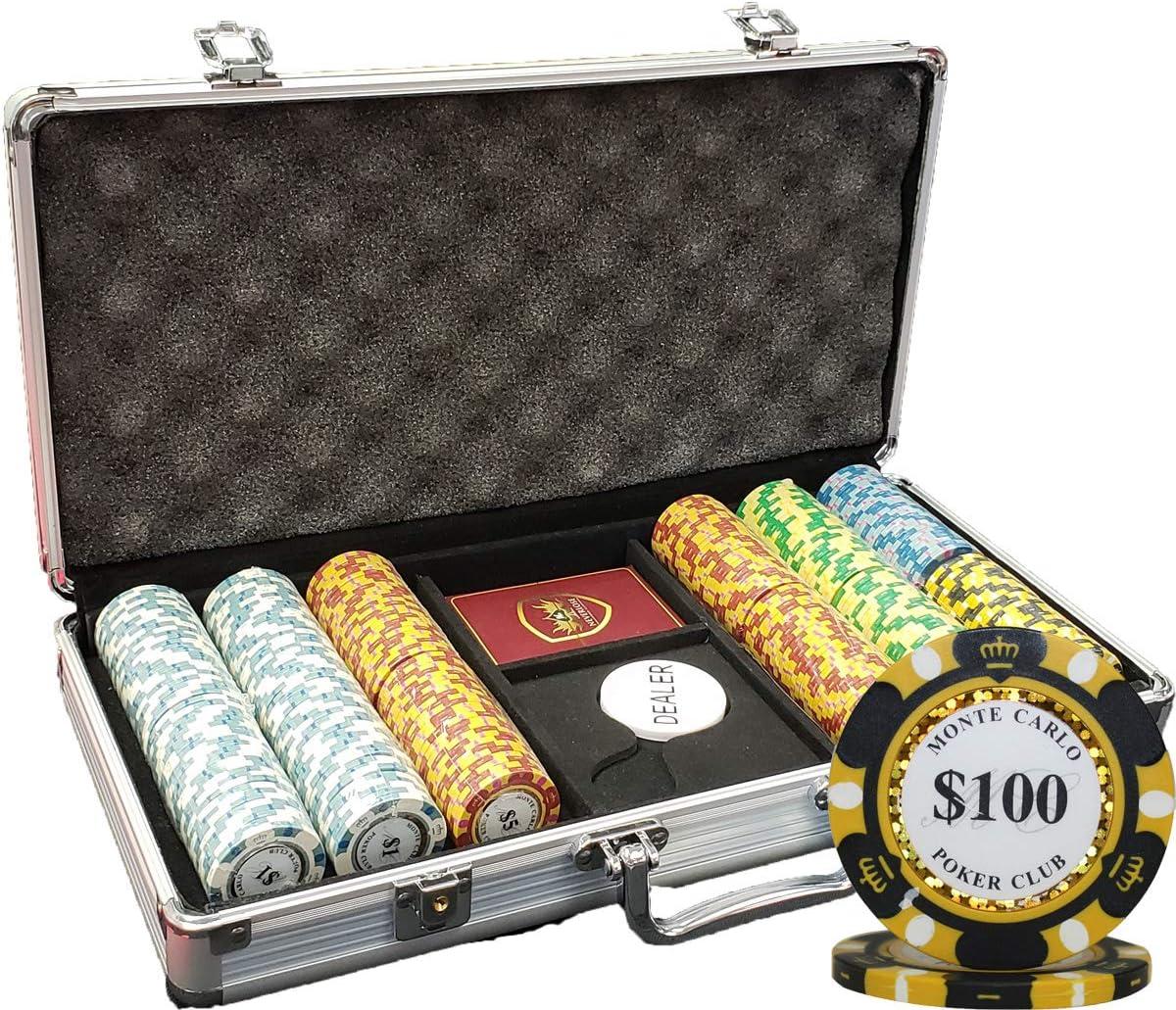 MRC 300pcs Monte Carlo Poker Set Superlatite Aluminum Club with Direct stock discount Chips