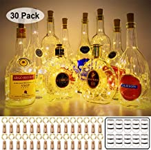 MUMUXI 30 Pack 20 LED Wine Bottle Lights with Cork, 3.3ft Silver Wire Cork Lights Battery Operated Fairy Mini String Light...