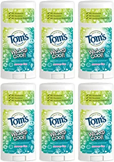 Tom's of Maine Wicked Cool Deodorant, Natural Deodorant, Toms Deodorant, Girls Summer Fun, 2.25 Ounce, 6-Pack