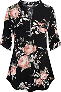 BEPEI Womens Floral 3/4 Sleeve Shirts Zip up V Neck Work Chiffon Blouses Top