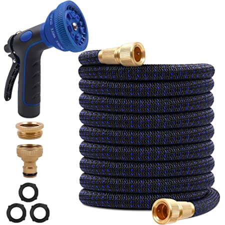 """SHEMKAR Expandable Garden Hose Pipe 100FT 30M - 10 Function Spray Gun 3/4"""" 1/2"""" Solid Brass Connectors Extra Strength Durable 4-Layer Latex No-Kink for Car, House, Floor, Yard Wash"""