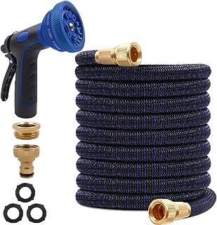 "SHEMKAR Expandable Garden Hose Pipe 100FT 30M - 10 Function Spray Gun 3/4"" 1/2"" Solid Brass Connectors Extra Strength Dura..."