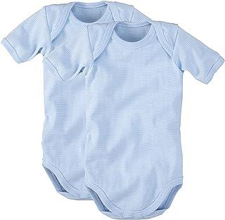 WELLYOU Body pour b/éb/é-Body gar/çons Lot de 2 Manches Courtes Jaune Fluo /à Rayures Bleu Clair Finement c/ôtel/és Taille 50-134
